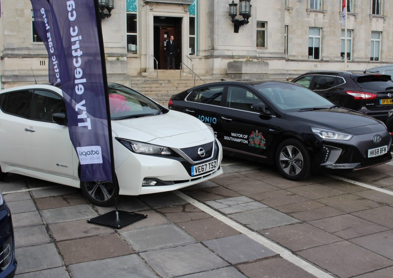 Electric vehicles on display outside Civic Centre