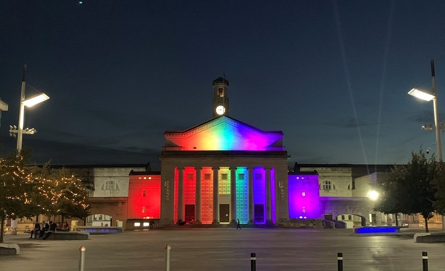 Guildhall rainbow lights