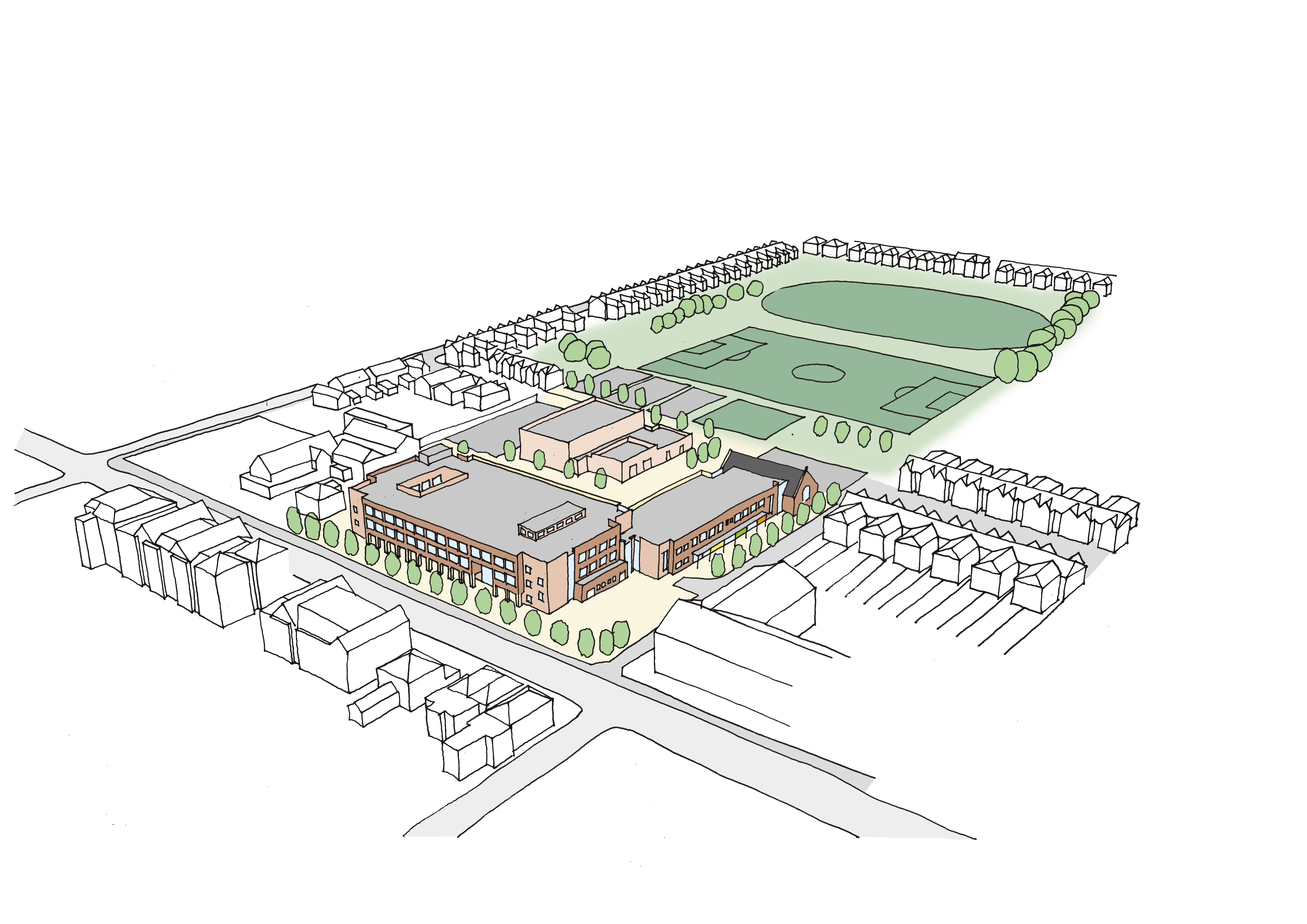 Sketch view of proposed new all-through school