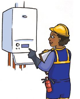 Cartoon image of someone servicing a boiler