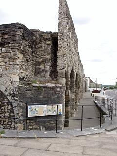 Remains of ?tower immediately south of site of Biddles Gate, and The Arcades, Western Esplanade, 21.6.09,  © I Peckham